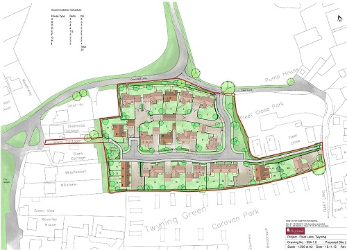 Indicative view of Newland Homes' development at Fleet Lane, Twyning