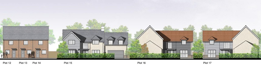 Proposed new homes at School Lane Whitminster, Glos.