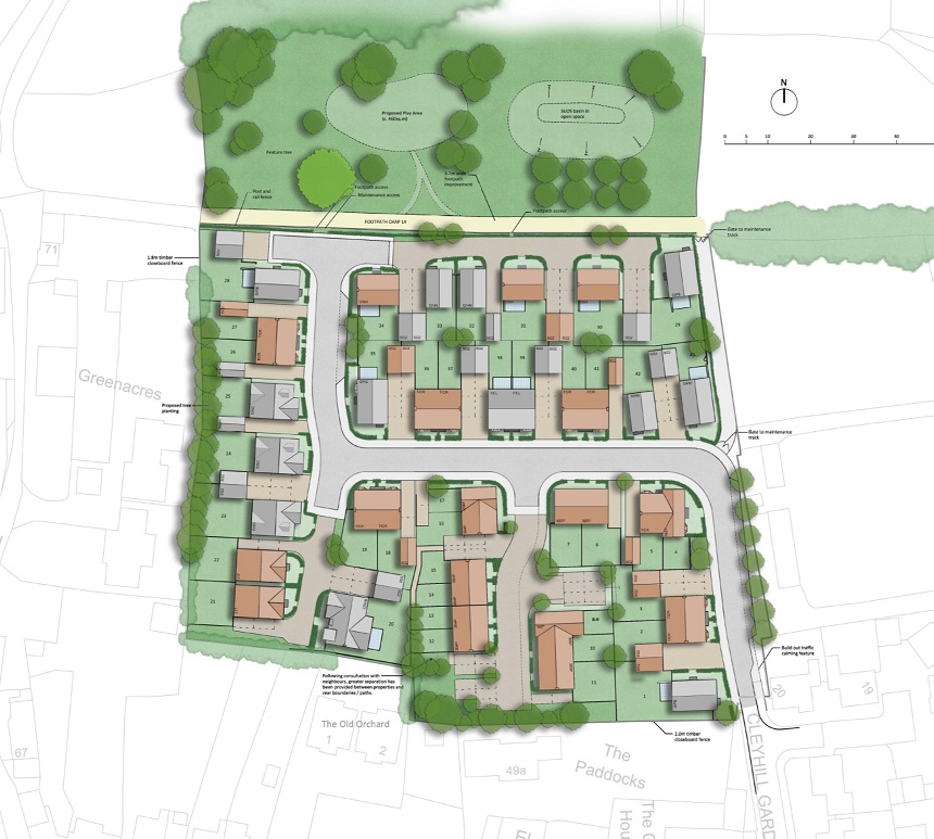 Proposed homes at Chapmanslade - site layout