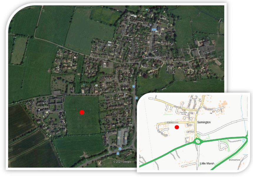 Location of proposed new homes at St Georges Road, Semington