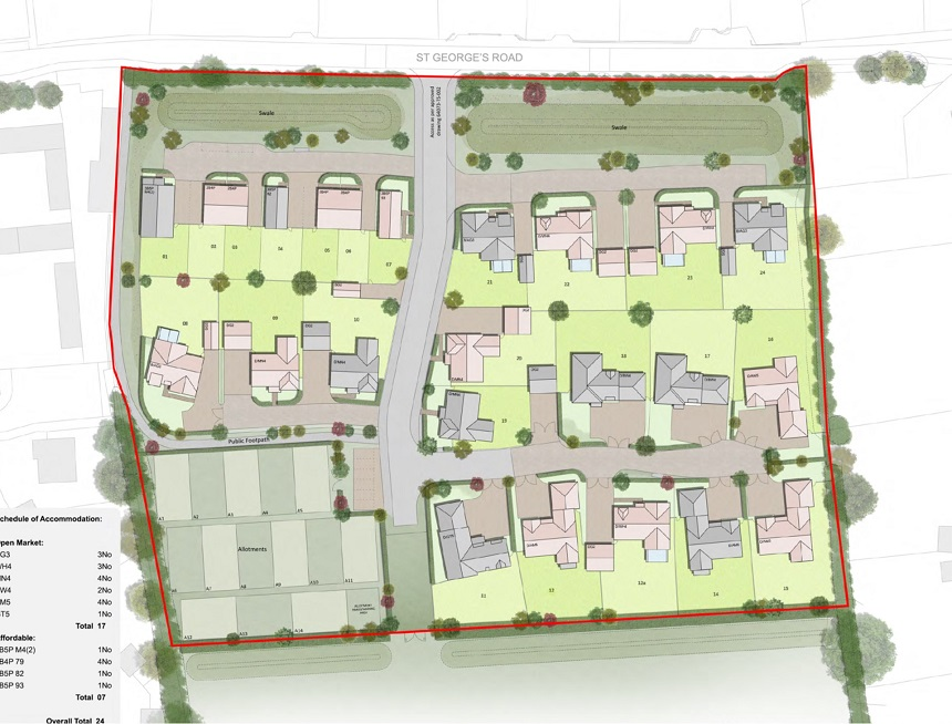Proposed new homes at St Georges Road, Semington
