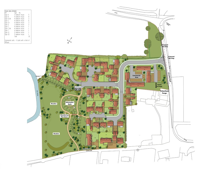 Proposed new homes and commercial office space at former Tickenham Garden Centre
