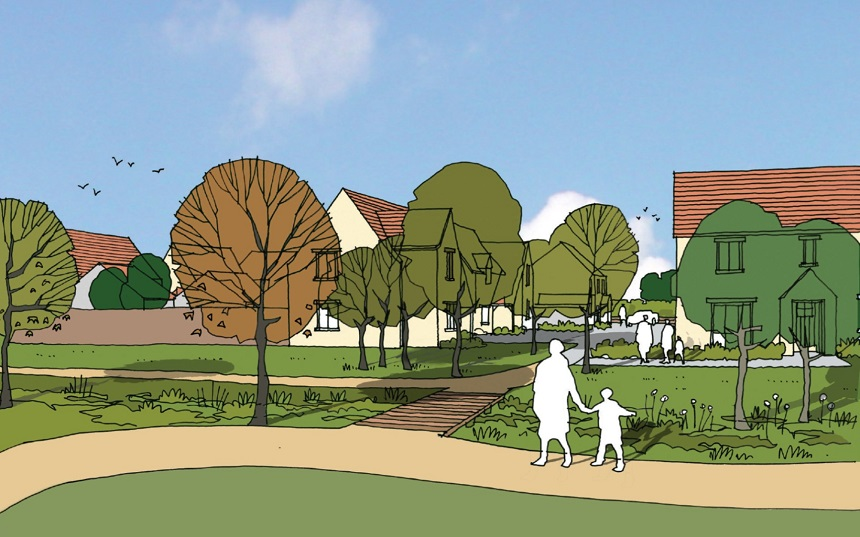 Eye level impression of proposed homes at Former Tickenham Garden Centre.
